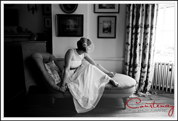 Bride sits on the chaise lounge at smedmore House