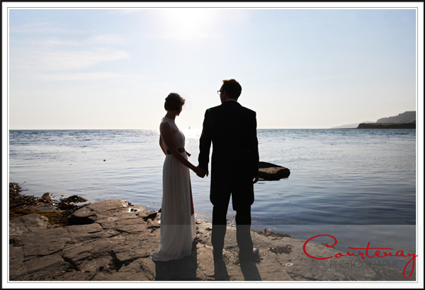 bride and groom at kimmeridge bay dorset