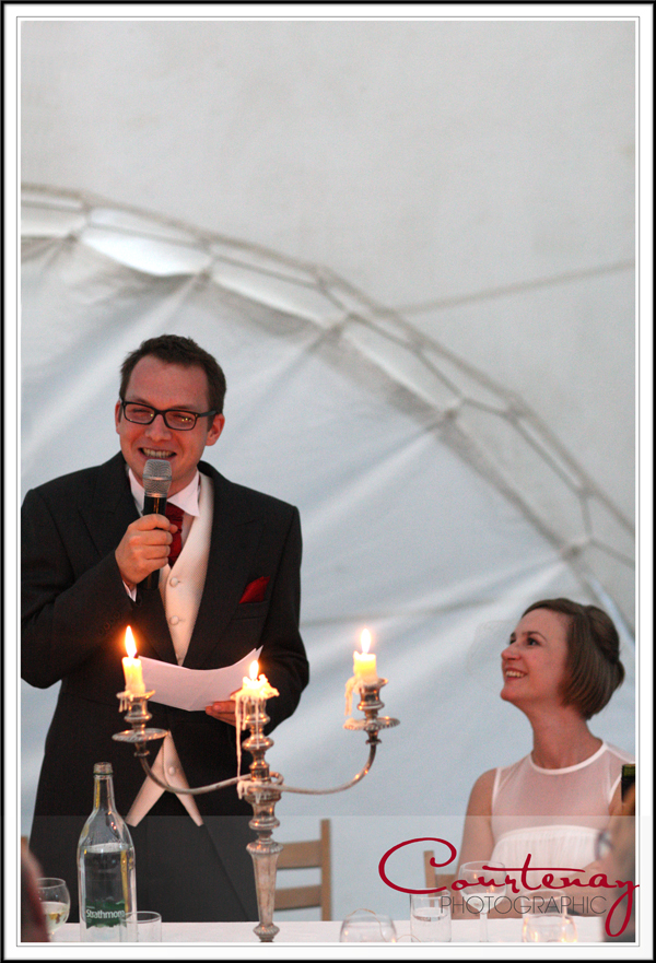 speeches in the marquee at smedmore house wedding