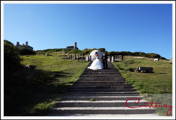 Bride &amp; Groom at the Globe Durlston Castle Dorset Wedding